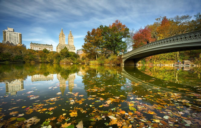 Photo wallpaper bridge, river, New York, NYC, Central Park, Bow Bridge