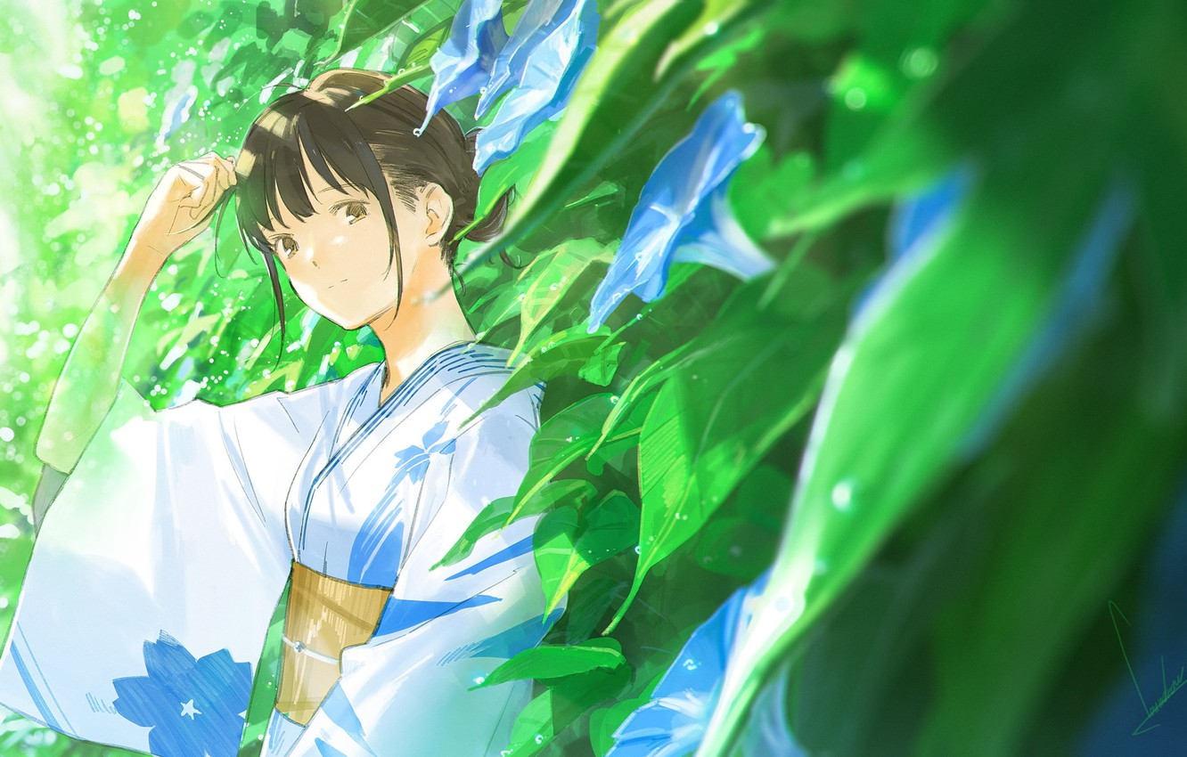 Photo wallpaper leaves, drops, Japanese, kimono, bangs, yunki, summer rain, by Loundraw