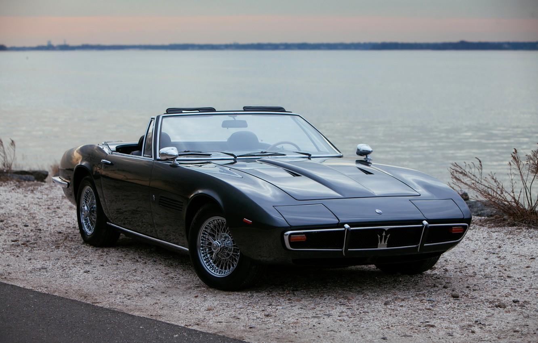 Photo wallpaper black, coast, Maserati, 1969, Roadster, spider, Ghibli Spider
