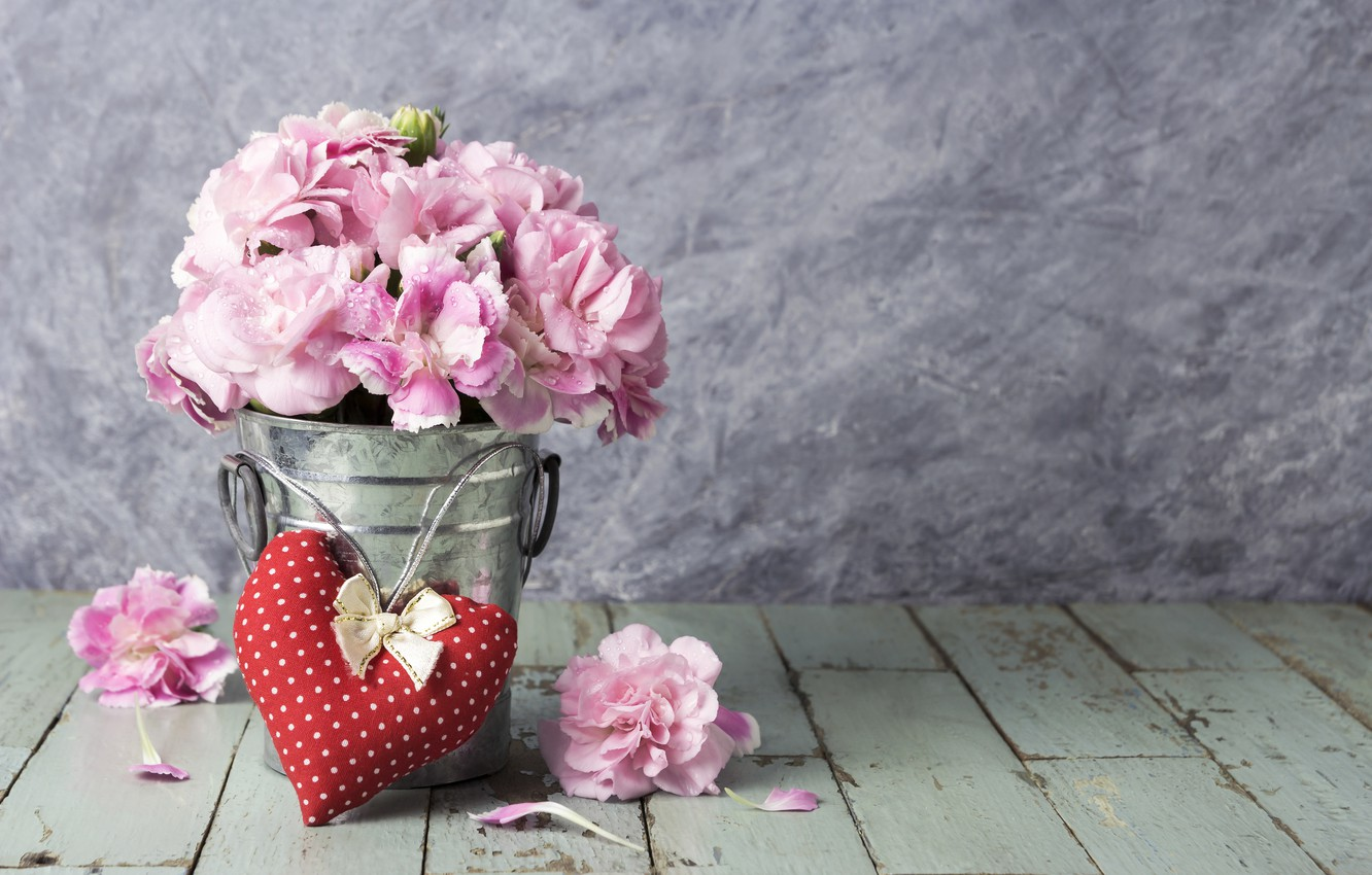 Wallpaper Love Flowers Heart Petals Bucket Love Pink Vintage Heart Wood Pink Flowers Beautiful Romantic Images For Desktop Section Cvety Download