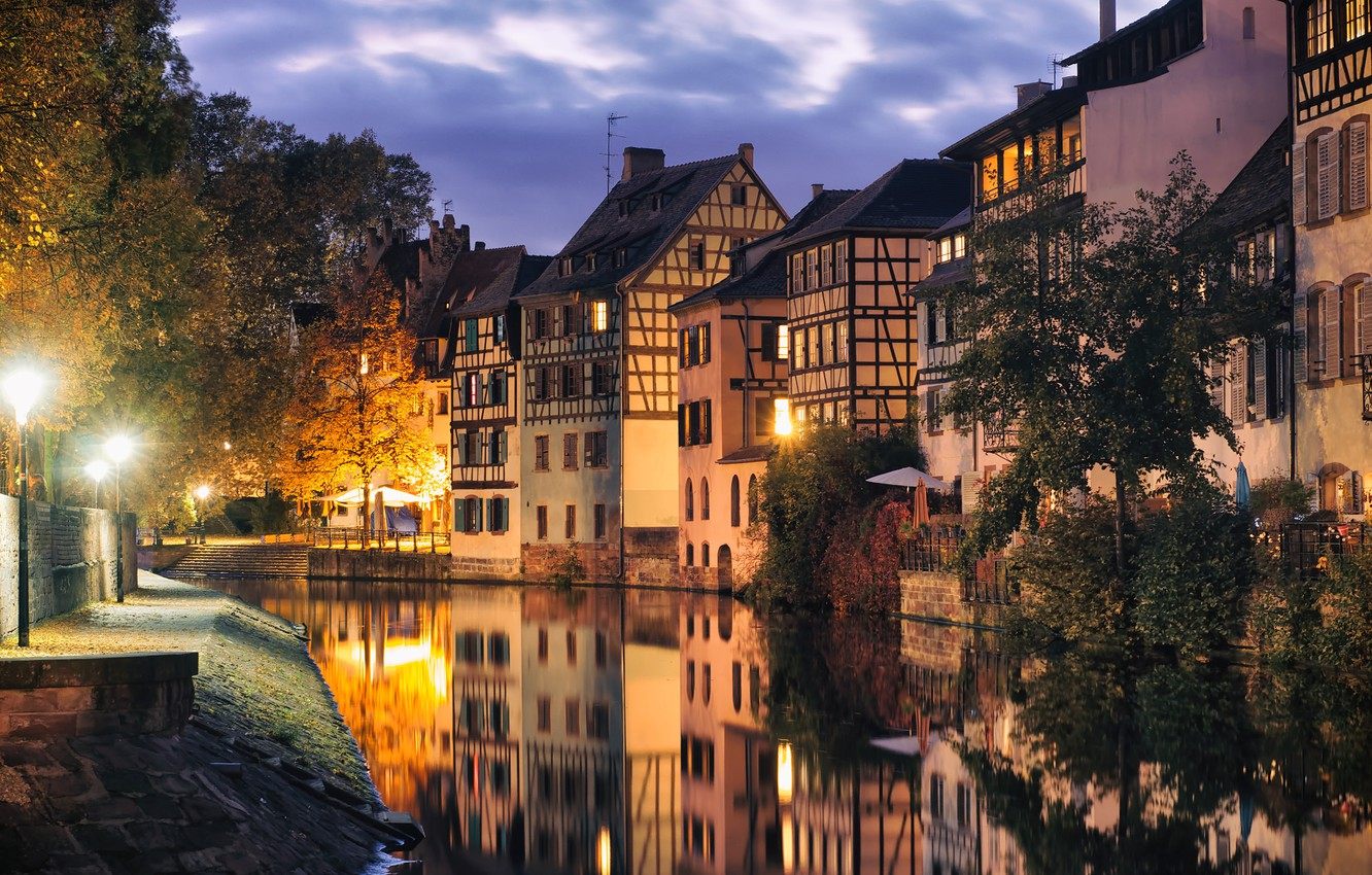 Photo wallpaper river, France, home, the evening, Strasbourg