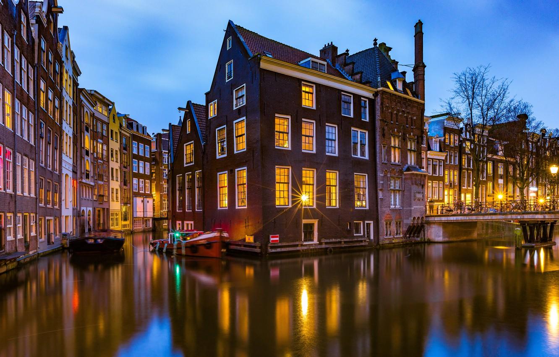 Photo wallpaper bridge, building, home, Amsterdam, channel, Netherlands, Amsterdam, Netherlands