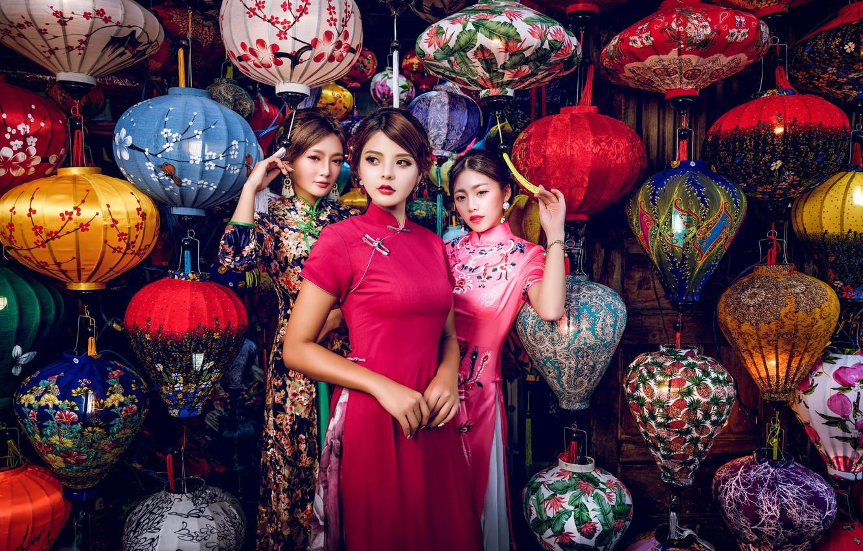 Photo wallpaper style, girls, trio, model, lanterns, Asian girls