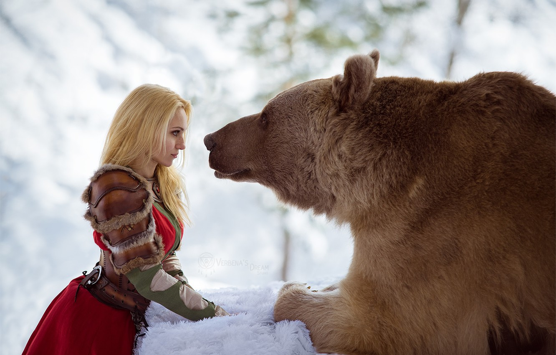 Photo wallpaper snow, photo, bear, Russia, Dasha, bear winter