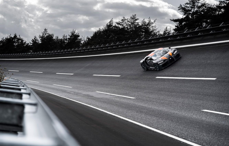 Photo wallpaper asphalt, trees, turn, Bugatti, hypercar, Chiron, Super Sport 300+