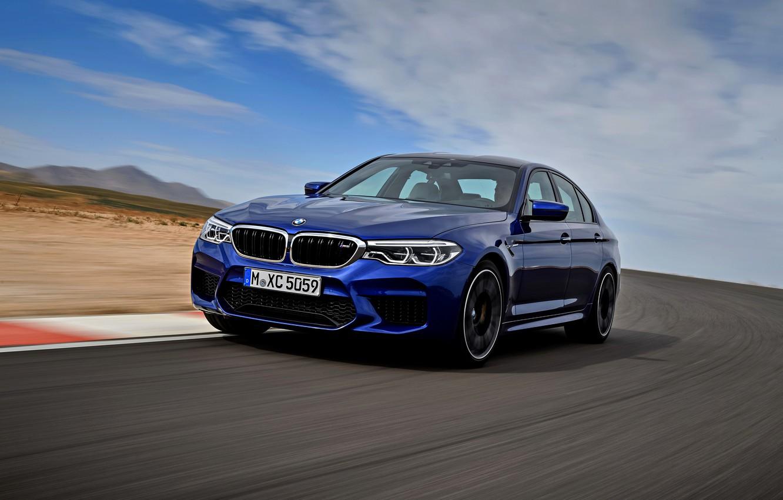 Photo wallpaper asphalt, movement, BMW, sedan, BMW M5, 2017, M5, F90