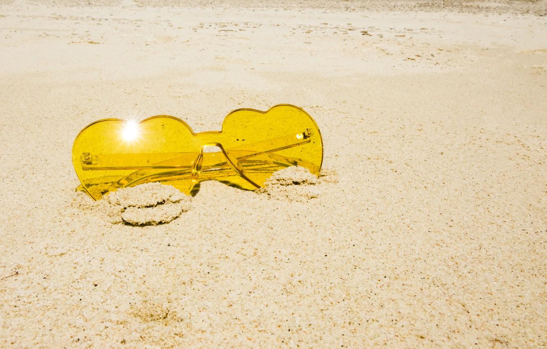 Photo wallpaper sand, sea, beach, summer, stay, glasses, summer, love, beach, sea, sand, hearts, vacation, sunglasses