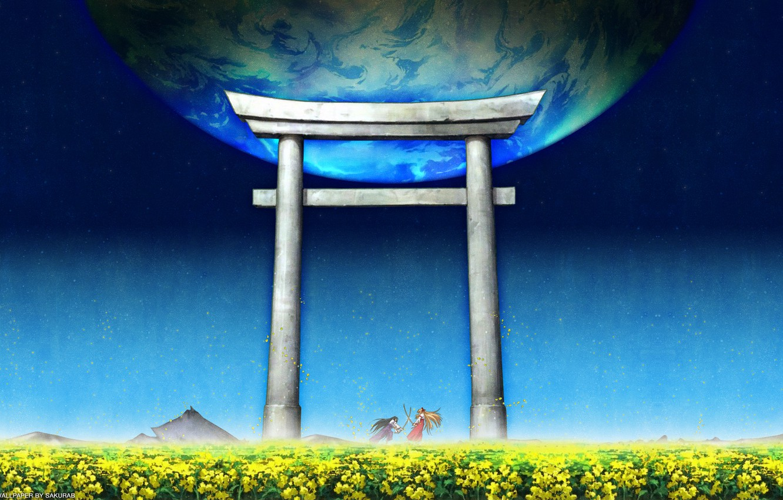 Photo wallpaper Japan, blue sky, torii gate, by Kaishaku, Himeko Kurusugawa, Kannazuki no Miko, Chikane Himemiya