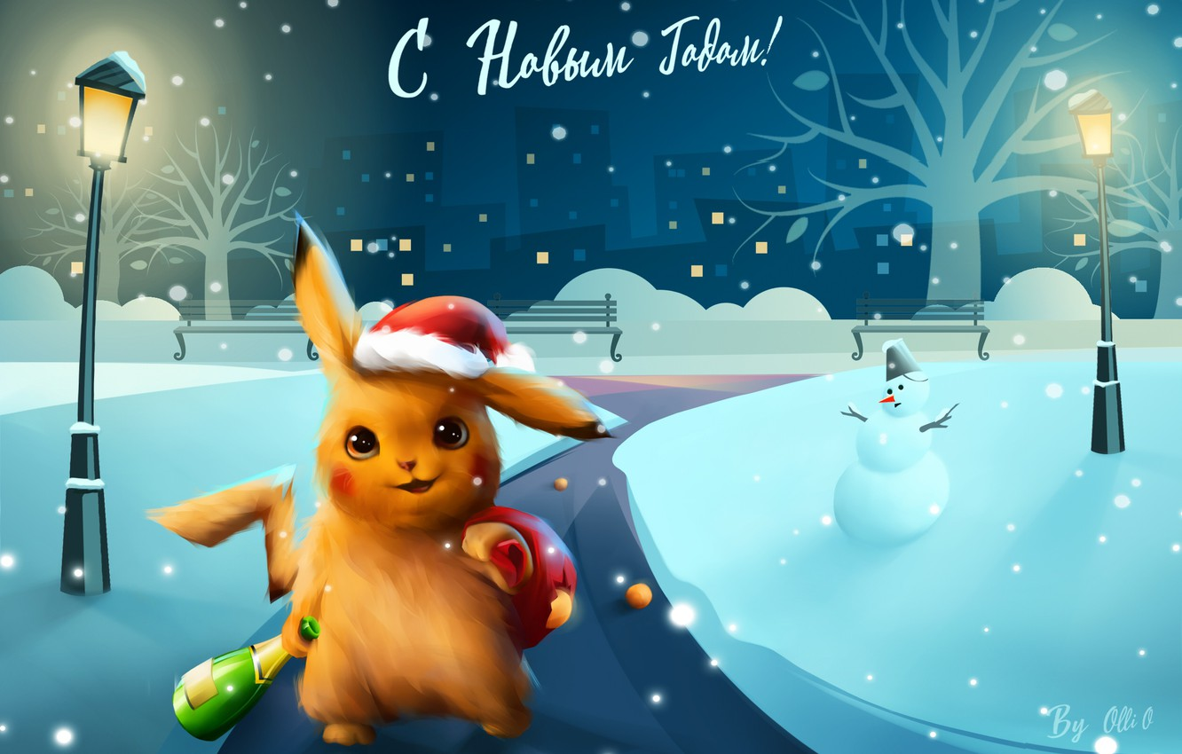 Photo wallpaper Winter, Night, Snow, Christmas, Snowflakes, Background, New year, Holiday, snow, New Year, Illustration, Pikachu, Snowman, …