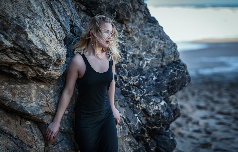 Photo wallpaper sea, girl, nature, pose, rock, the wind, shore, hair, Yana, Pedro Courelas