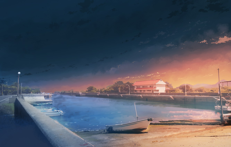 Photo wallpaper summer, sunset, boat, pier