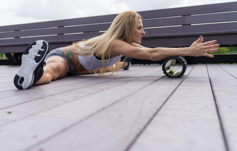 Photo wallpaper legs, blonde, floor, workout, fitness