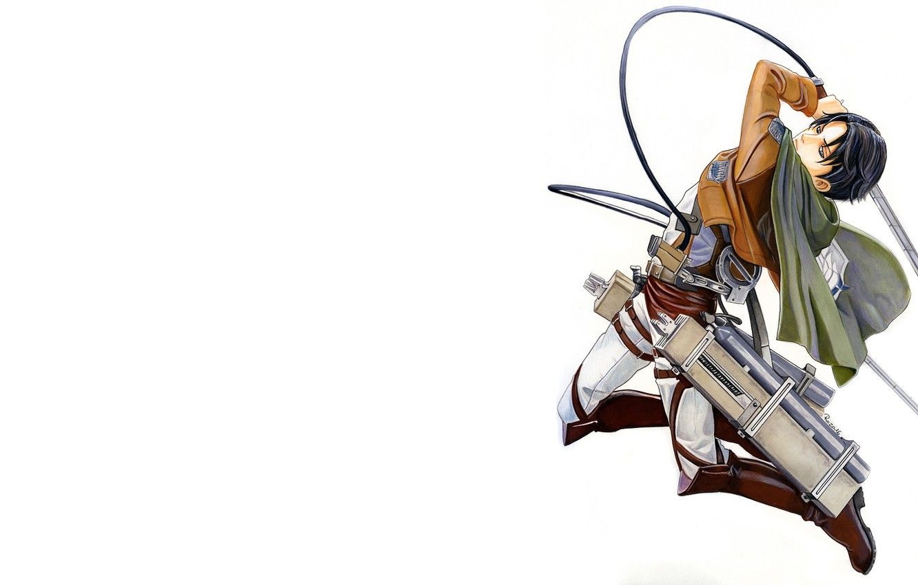 Wallpaper Weapons Jump Figure Blade Art Cables Attack Of The Titans Shingeki No Kyojin Levi Ackerman Levi Corporal By Redwarrior3 Images For Desktop Section Syonen Download