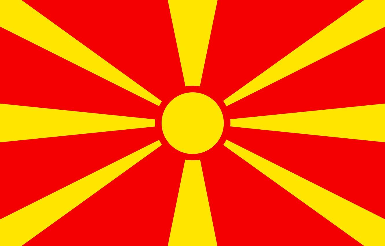 Photo wallpaper flag, red, Macedonia, yellow, fon, flag, makedonija