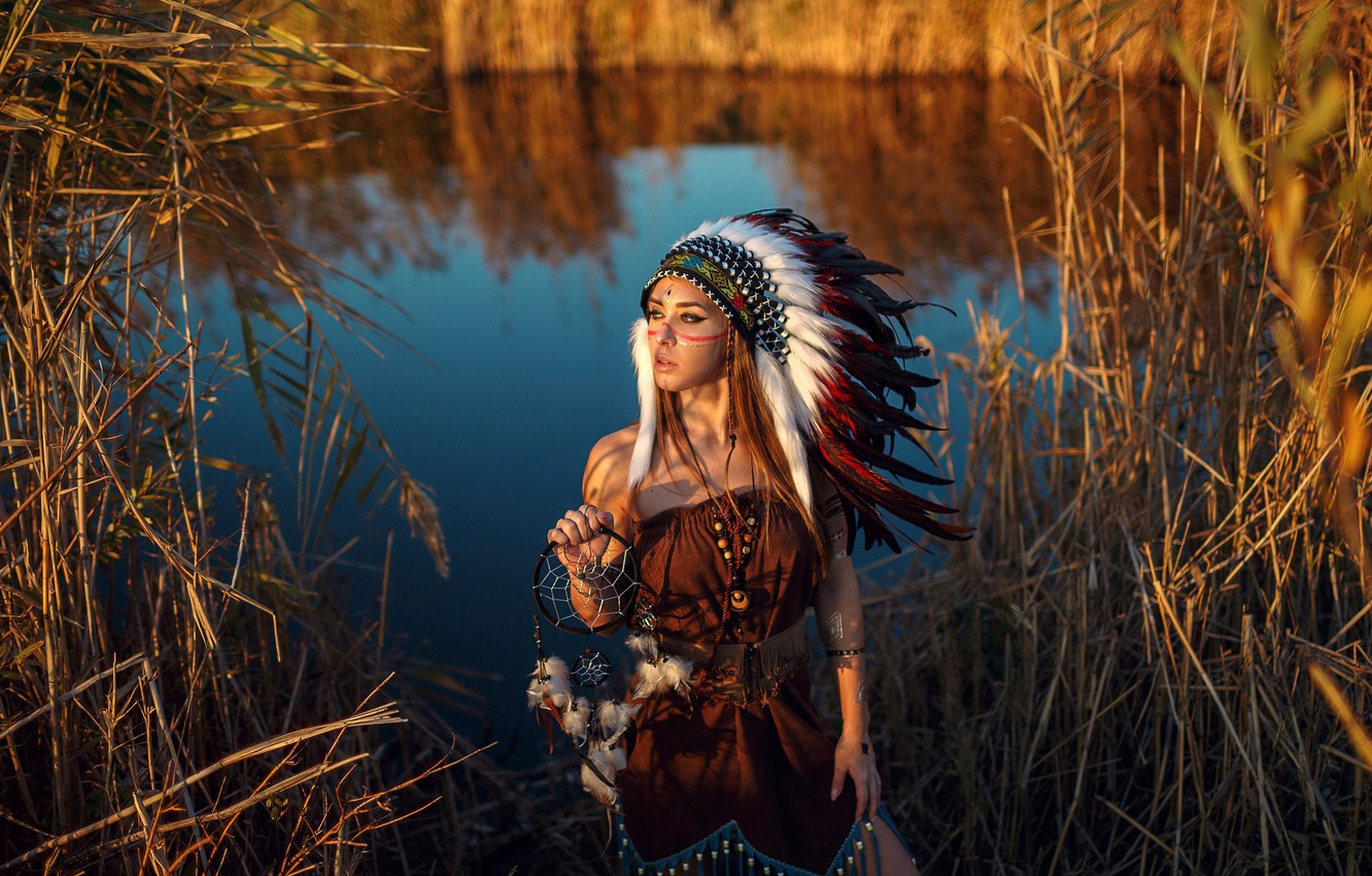 Photo wallpaper girl, the sun, decoration, nature, pose, river, feathers, dress, reed, outfit, brown hair, beauty, amulet, …