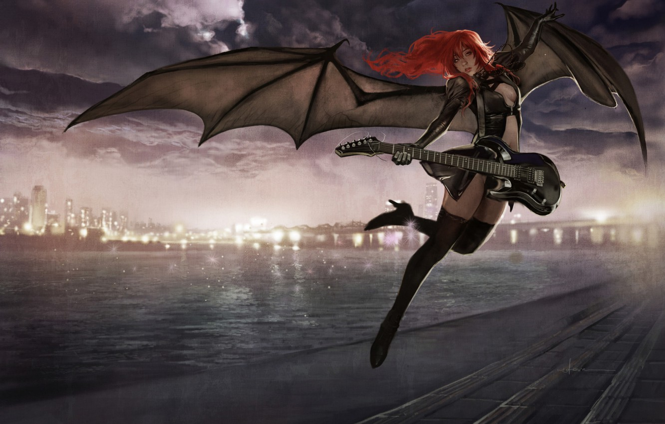 Photo wallpaper Girl, Night, Music, Guitar, Asian, Wings, The demon, JH Stonehouse, by JH Stonehouse, Night Muse