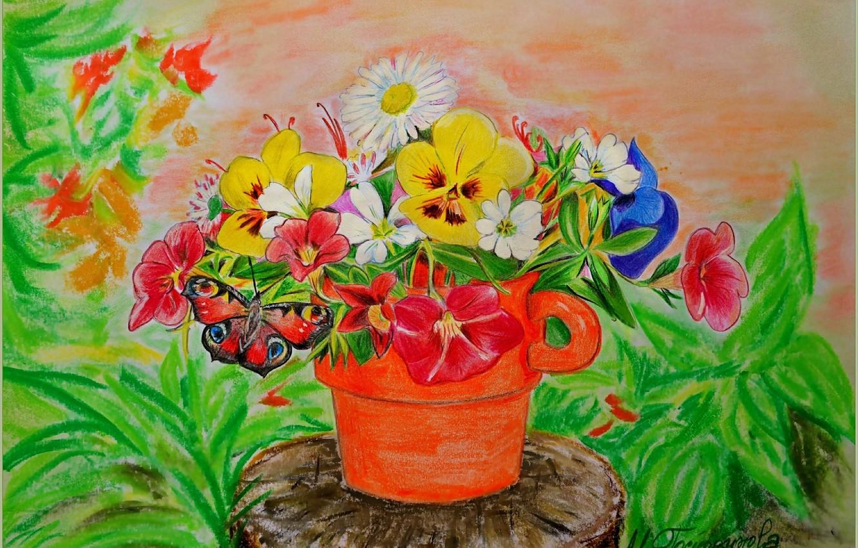 Photo wallpaper Figure, Butterfly, Flowers, Pot, Flowers, Butterfly