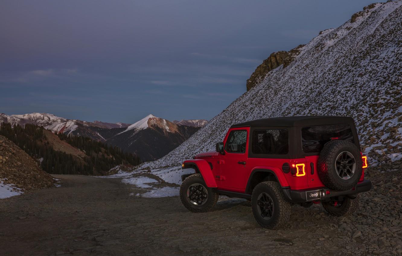 Photo wallpaper snow, red, 2018, Jeep, mountain pass, Wrangler Rubicon