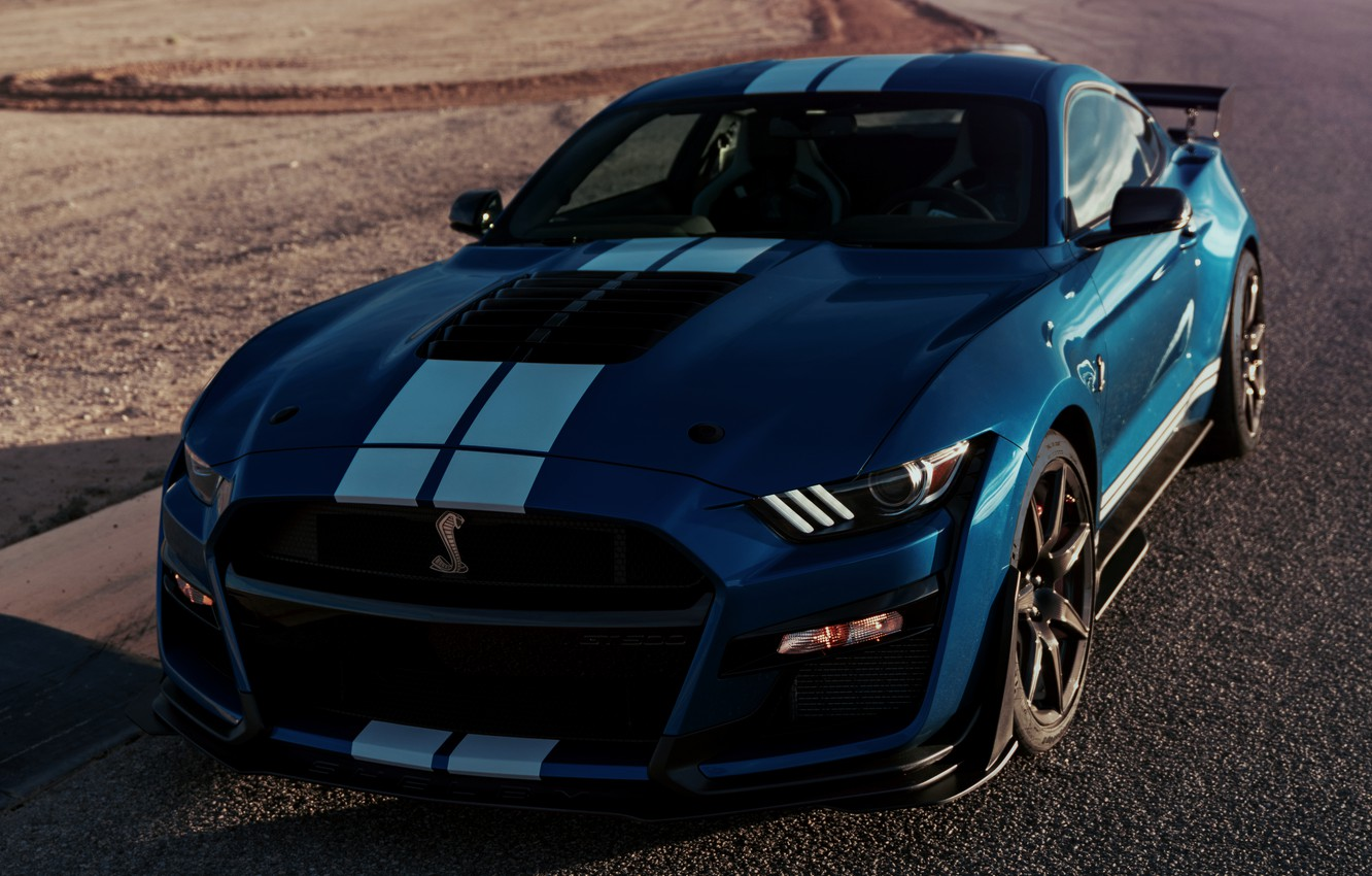 Photo wallpaper asphalt, blue, Mustang, Ford, Shelby, GT500, 2019