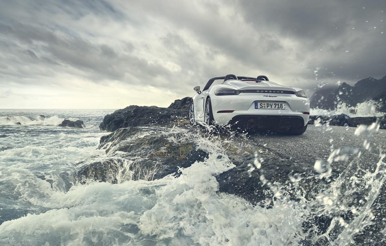 Photo wallpaper machine, water, Porsche, Cayman, Spyder, 718