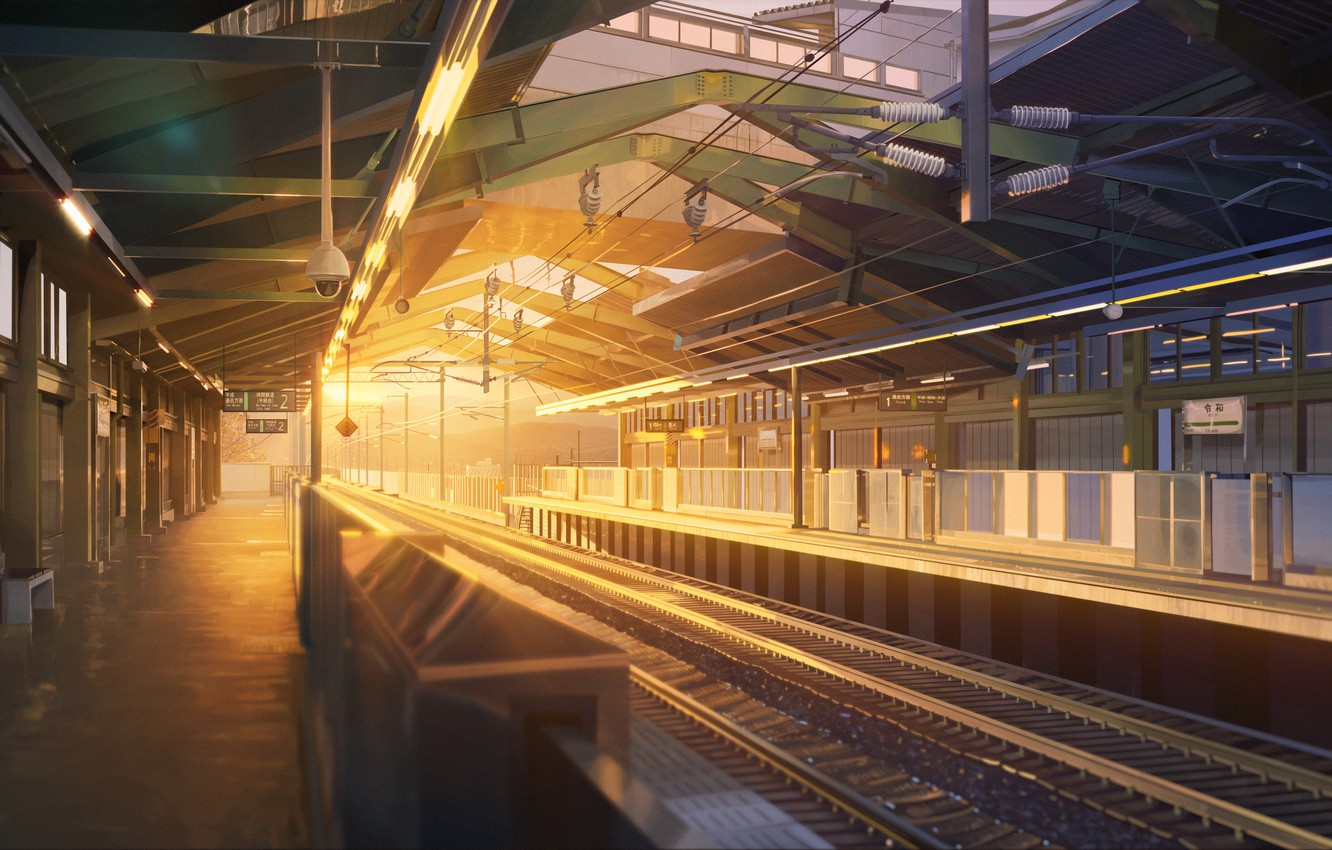 Photo wallpaper sunset, station, without people