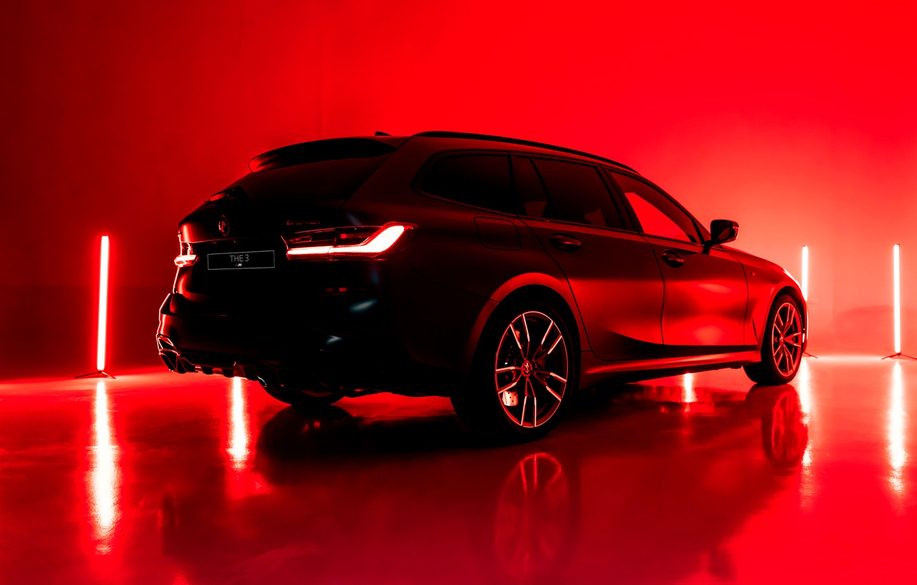 Photo wallpaper light, red, background, lamp, BMW, 3-series, universal, the five-door, 3P, 2020, G21, M340i xDrive Touring