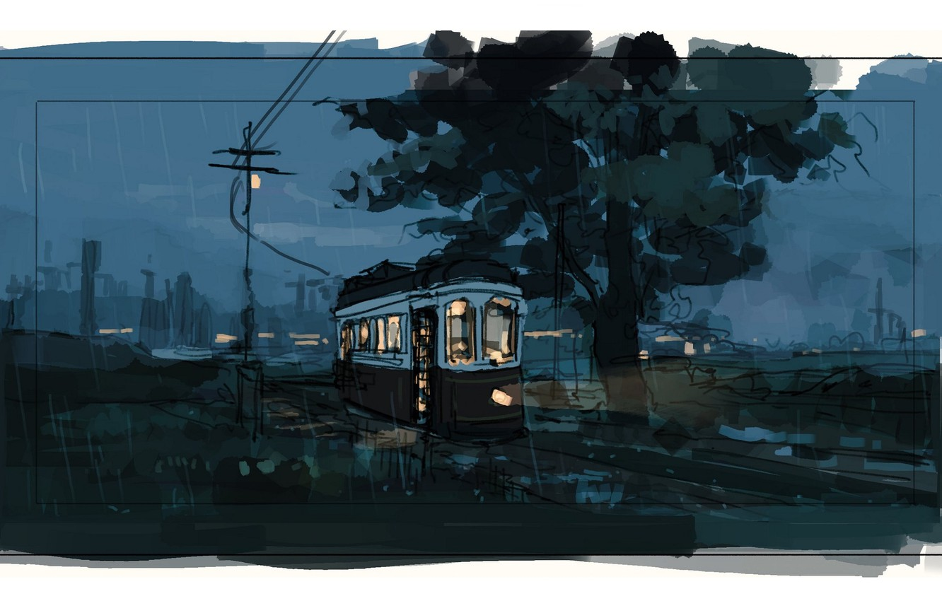 Photo wallpaper posts, wire, tram, twilight, the light in the Windows, the suburbs, rainy evening, the evening …