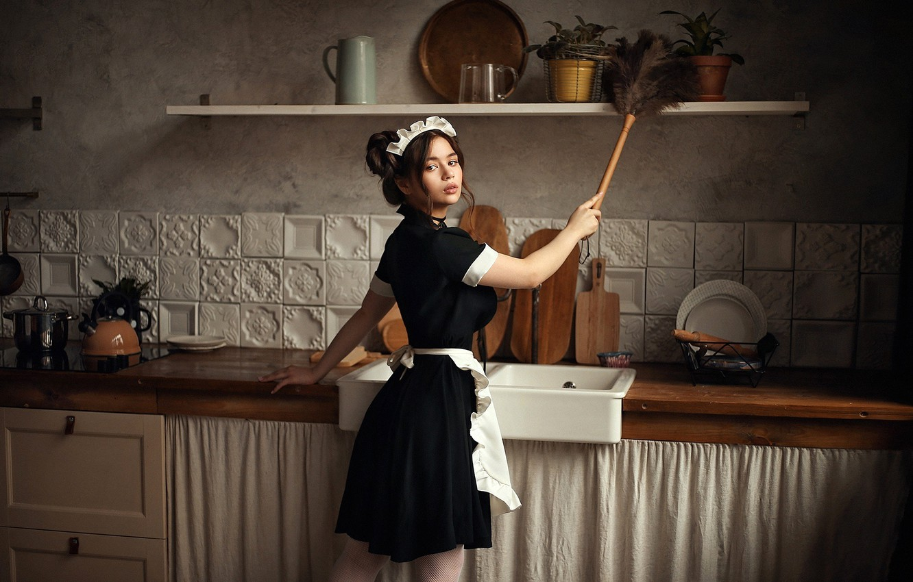 Photo wallpaper look, pose, model, portrait, makeup, figure, dress, hairstyle, kitchen, brown hair, is, ass, in black, …