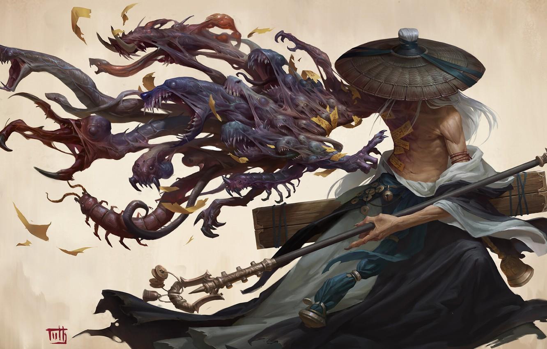 Wallpaper Fantasy Hat Man Monsters Samurai Digital Art
