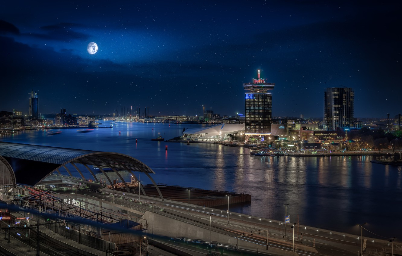 Photo wallpaper river, building, home, Amsterdam, Netherlands, night city, Amsterdam, Netherlands