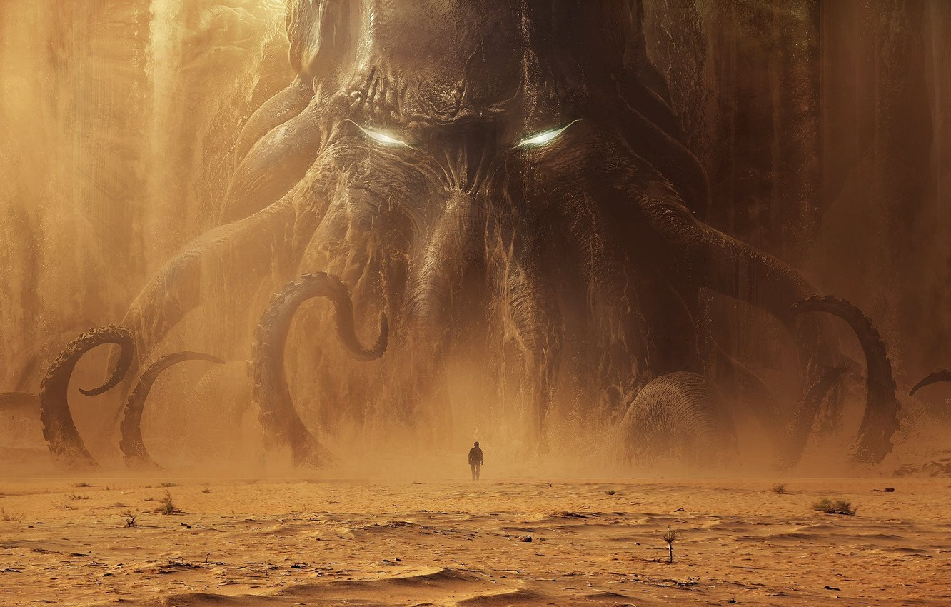 Photo wallpaper Cthulhu, Cthulhu, monster, man, sand, tentacles, dead sea, Lovecraft, Andree Wallin