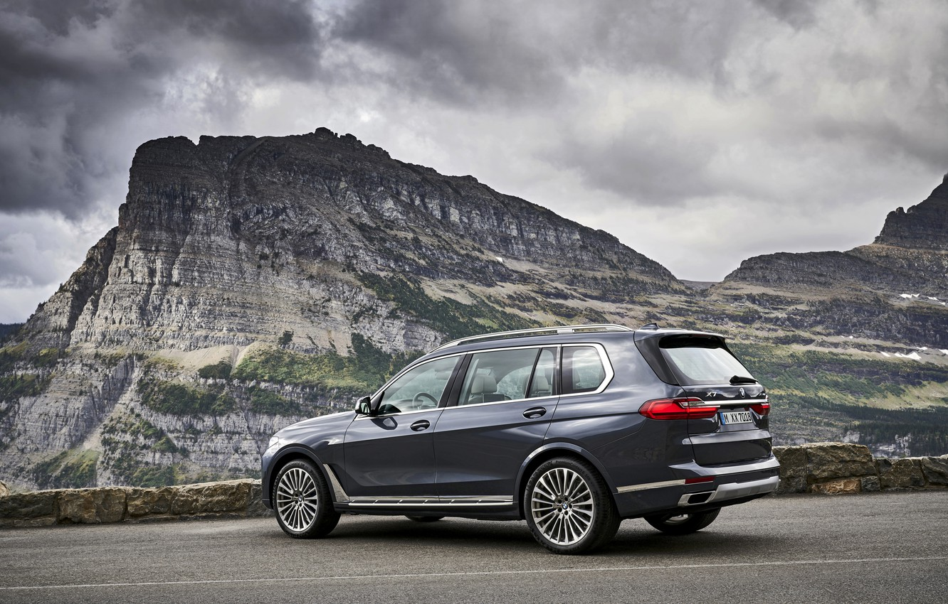Photo wallpaper mountains, overcast, BMW, 2018, crossover, SUV, 2019, BMW X7, X7, G07