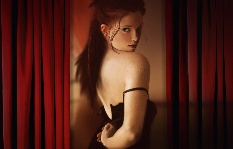 Photo wallpaper Girl, Figure, Look, Lips, Back, Art, Red, Freckles, Sexy, Beautiful, Cute, Cutie, madeinkipish, Hofsta - …