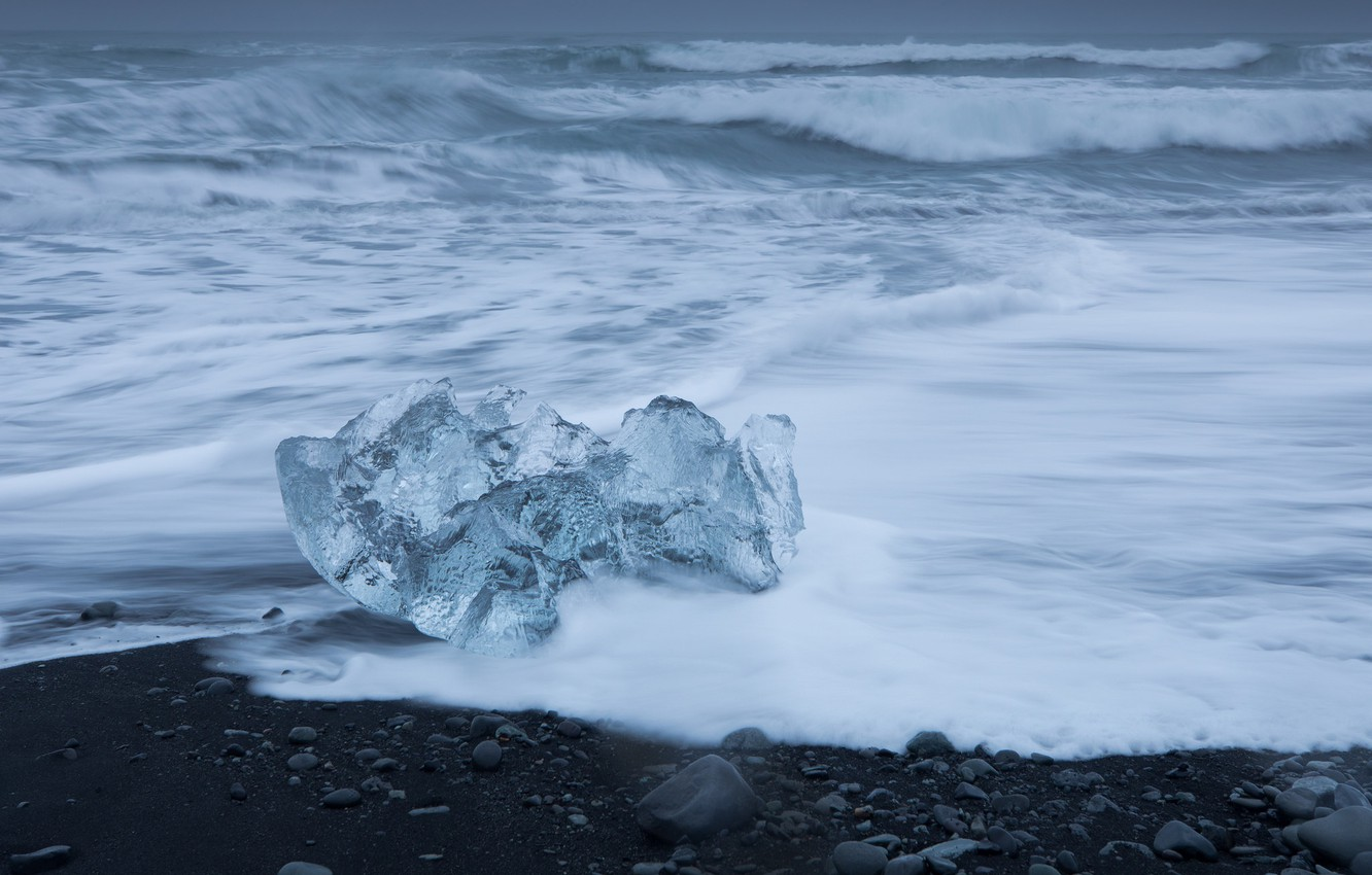 Photo wallpaper ice, sea, wave, Iceland, icicle