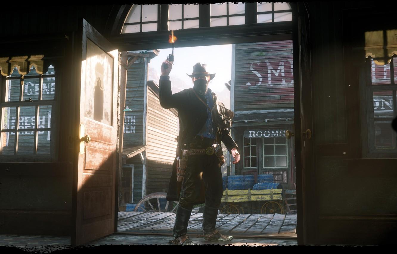 Photo wallpaper hat, revolver, the saloon, Rockstar, Bandit, Red Dead Redemption 2, Arthur Morgan