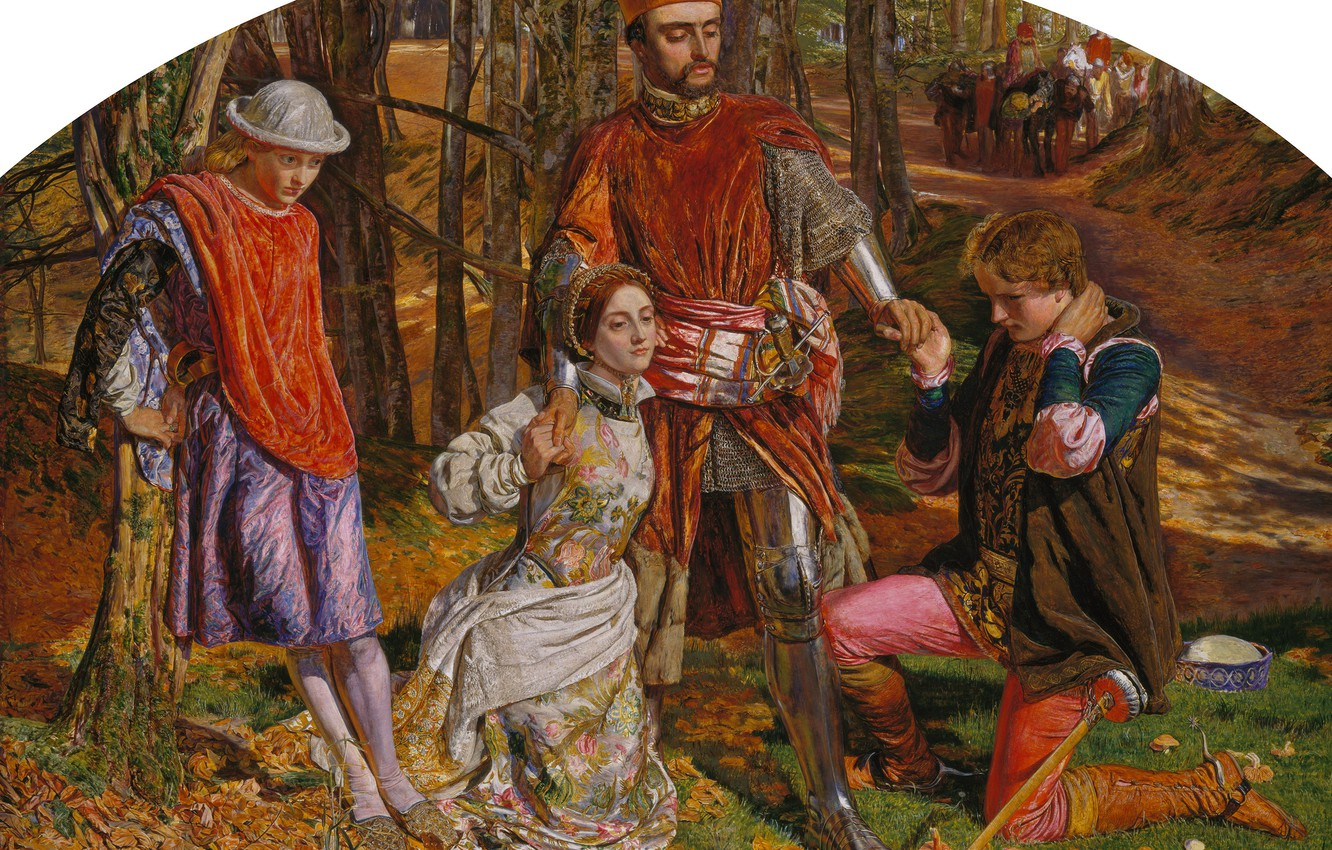 Photo wallpaper 1851, William Holman Hunt, in Shakespeare's play Two gentlemen of Verona, Valentine rescues Sylvia from …