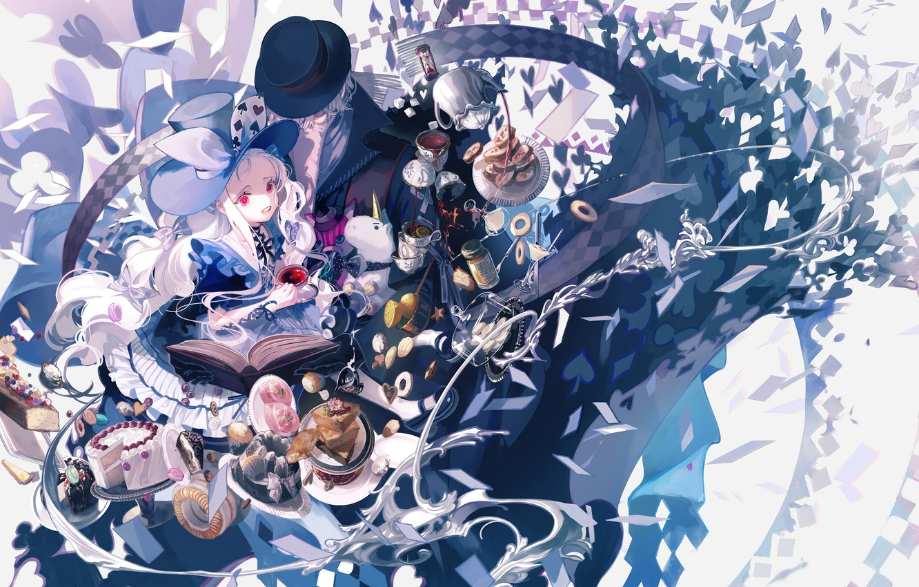 Photo wallpaper anime, art, Alice, girl, sweets, Hatter, Alice in chedes does, Alise in wonderland