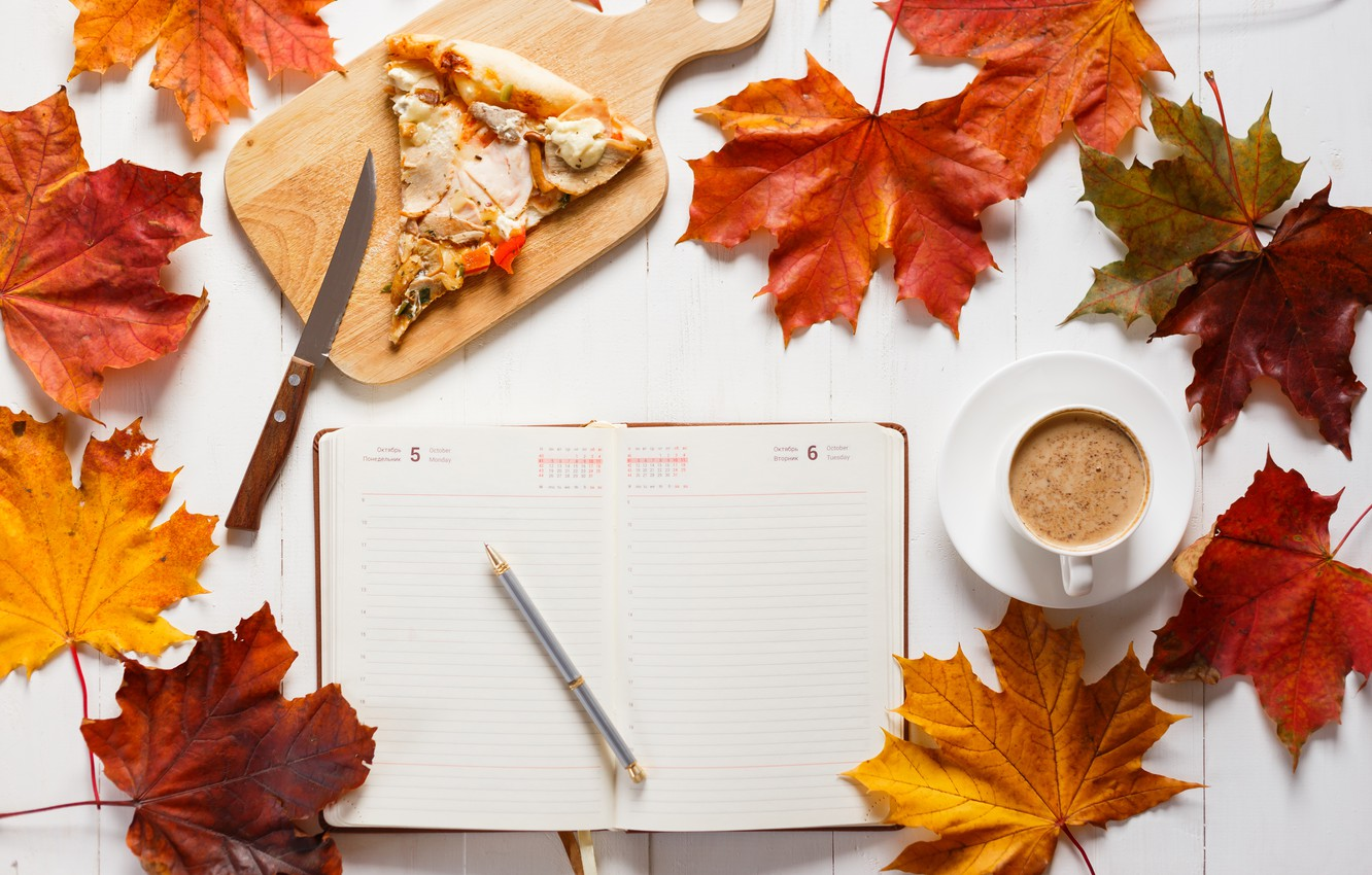 Photo wallpaper autumn, leaves, background, colorful, maple, wood, autumn, leaves, pizza, cup, book, coffee, a Cup of …