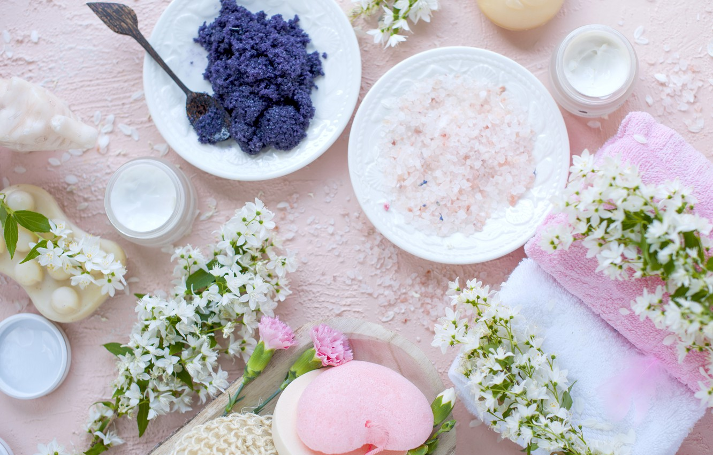Photo wallpaper flowers, towel, soap, relax, cream, Spa, spa, bath salt