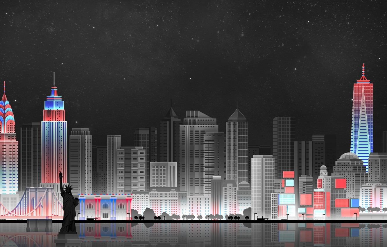 Photo wallpaper The sky, Minimalism, Night, The city, Art, New York, Digital, Illustration, New-York City, Game Art, …