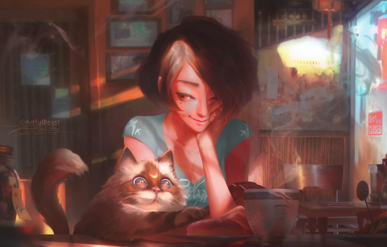 Photo wallpaper girl, food, cat, art, mood, shop, painted, Paul Nong, artfulbeast