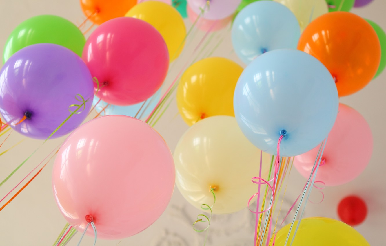 Photo wallpaper summer, happiness, balloons, stay, colorful, summer, happy, balloon