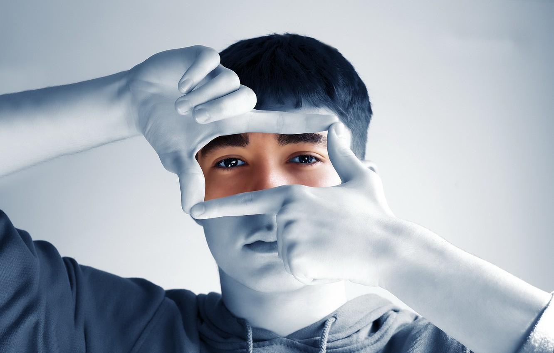 Photo wallpaper look, portrait, hands