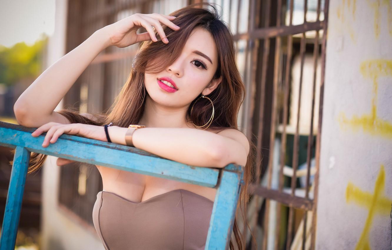 Photo wallpaper girl, cleavage, dress, photo, model, bokeh, brunette, asian, portrait, lipstick, looking at camera, dark eyes, …