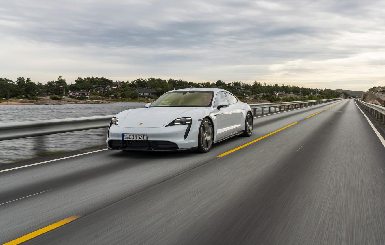 Photo wallpaper road, speed, Porsche, Turbo S, 2020, Taycan