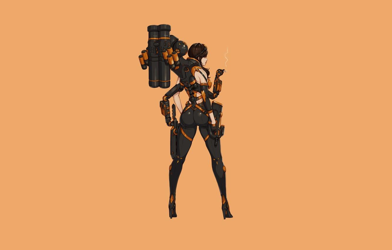 Photo wallpaper Girl, Gun, Sexy, Art, Minimalism, Characters, Ren Wei Pan, A.T.A troops