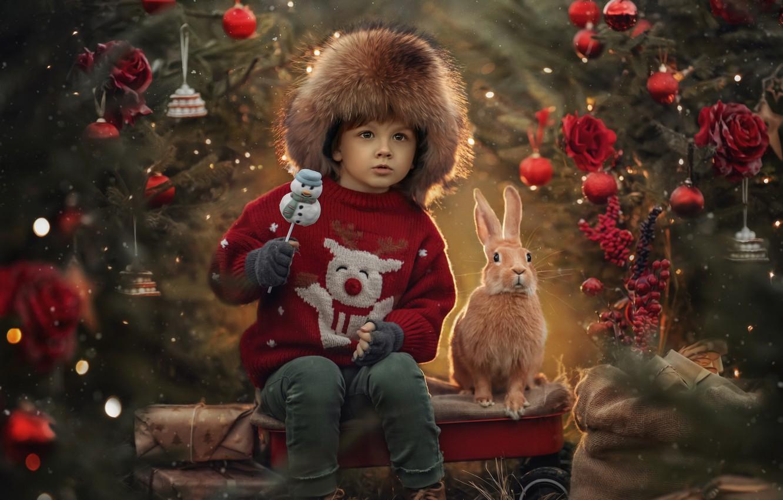 Photo wallpaper decoration, animal, holiday, toys, new year, boy, rabbit, tree, child, Jansone Dace
