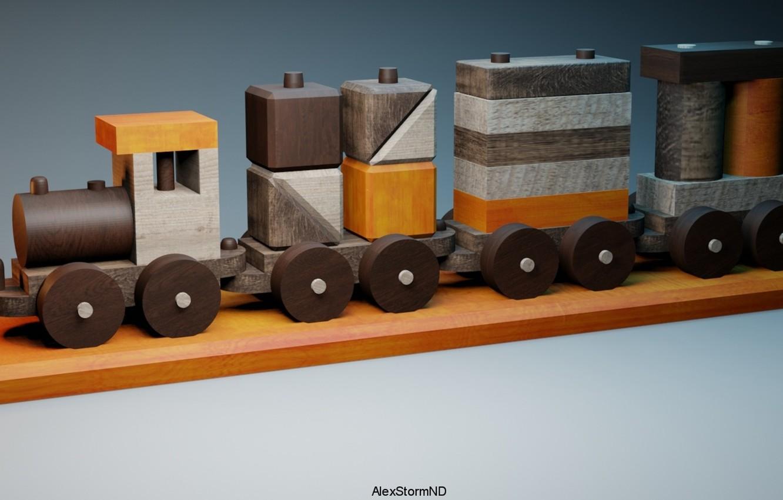 Photo wallpaper toy, train, render, AlexStormND