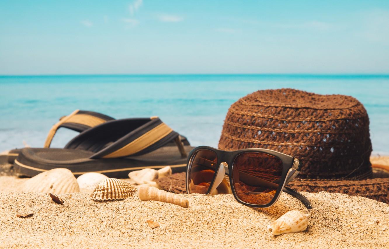 Photo wallpaper sand, sea, beach, summer, stay, hat, glasses, shell, summer, beach, vacation, sand, slates, vacation, sunglasses, …