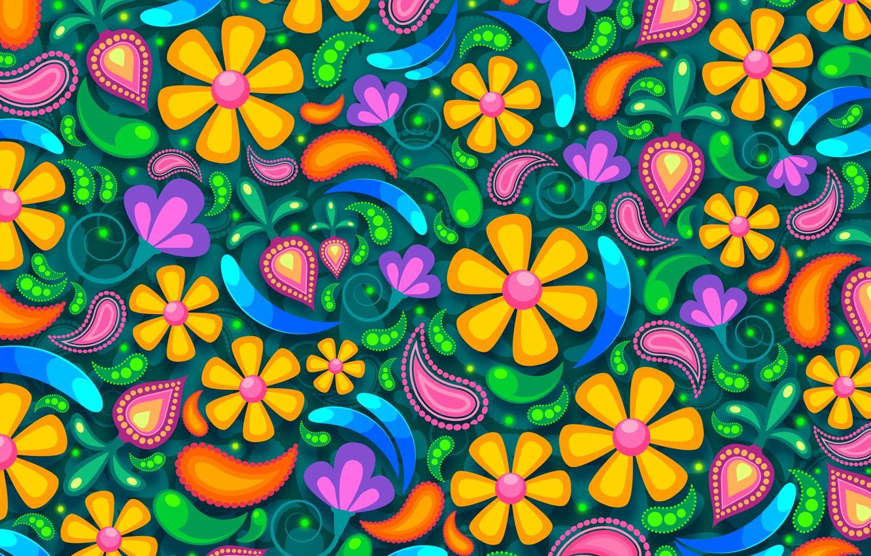 Photo wallpaper flowers, background, patterns, graphics, texture, digital art